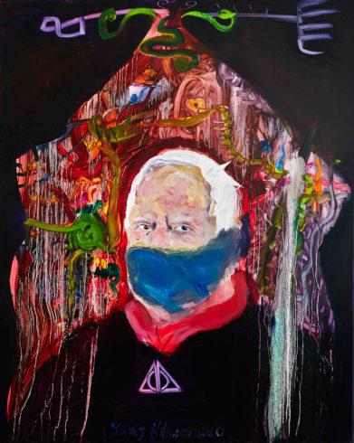 Paul J. Schupf mit Maske, 2019, Öl auf Leinwand, 100 x 80 cm, © Yury Kharchenko, Foto: Daniel Cati