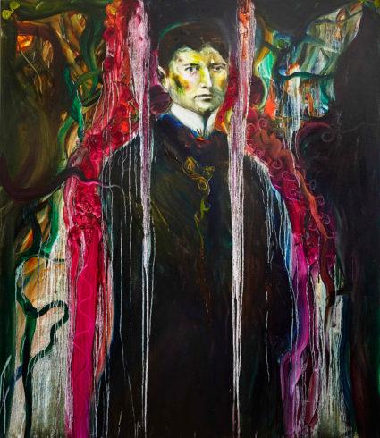 Zwischen Franz Kafka und mir, 2019, Öl auf Leinwand, 150 x 130 cm, © Yury Kharchenko, Foto: Daniel Cati