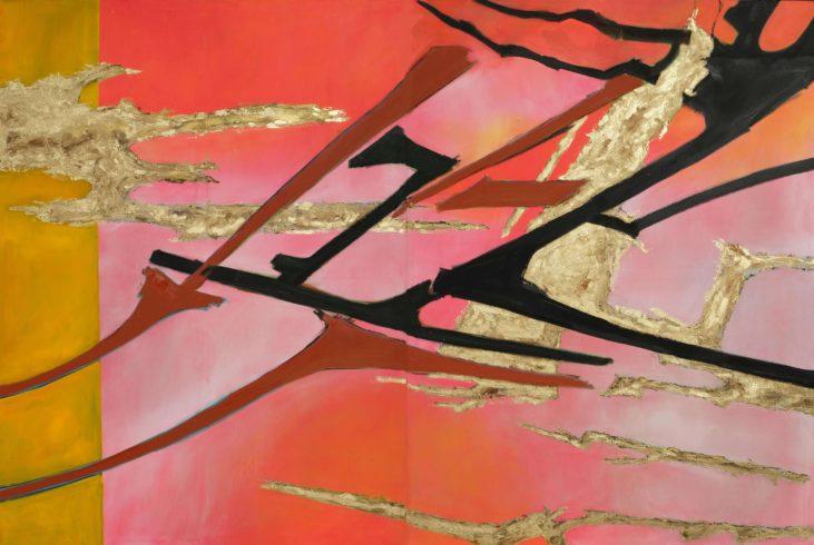 """Antares, 2019, Mischtechnik auf Leinwand, 200 x 150 cm, Mischtechnik auf Leinwand, 2019 (Serie """"Durchbrüche"""") VG Bild-Kunst, Bonn 2020/ Christine Westenberger, Foto: Christine Westenberger"""