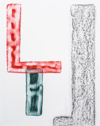 Klischee 23, 2015, Grafit und Farbstift auf Papier, 30 x 24 cm, Foto © Michael Cleff
