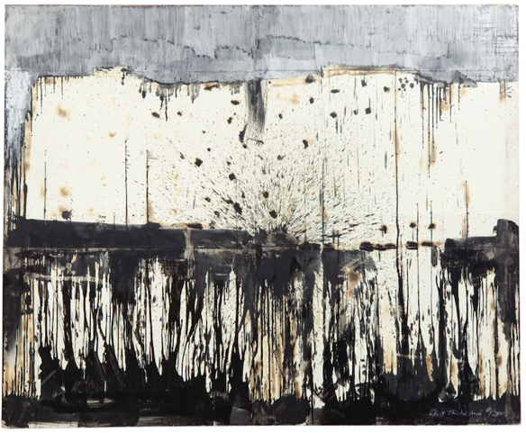 Berg, 2007, Grafit, Ölkreide, Wachs und Feuer auf Bütten, 180 x 220 cm VG Bild-Kunst, Bonn 2020/ Horst Thürheimer, Foto: Sebastian Schels