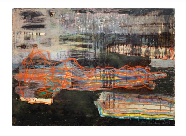 Solaris I, 2009–2011, Ölkreide, Wachs und Feuer auf Bütten auf Holz, 180 x 250 cm VG Bild-Kunst, Bonn 2020/ Horst Thürheimer, Foto: Sebastian Schels