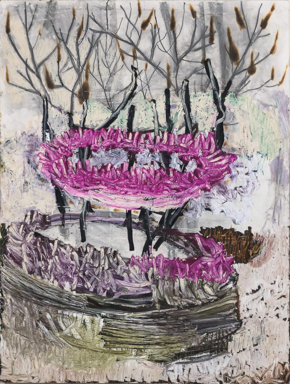 Farinelli, 2019, Grafit, Ölkreide und Feuer auf Bütten auf Holz, 200 x 152 cm VG Bild-Kunst, Bonn 2020/ Horst Thürheimer, Foto: Felix Weinold