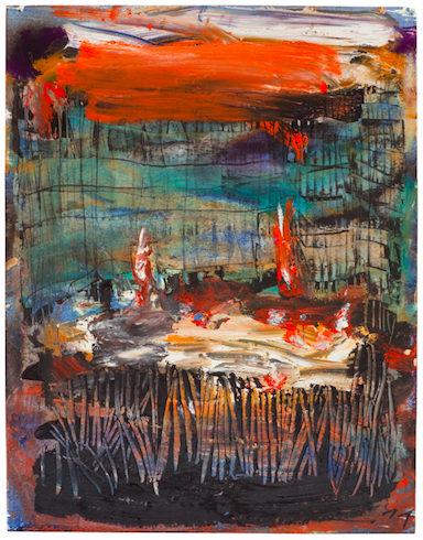 Toledo, 2011, Ölkreide und Feuer auf Papier, 32 x 25 cm VG Bild-Kunst, Bonn 2020/ Horst Thürheimer, Foto: Sebastian Schels
