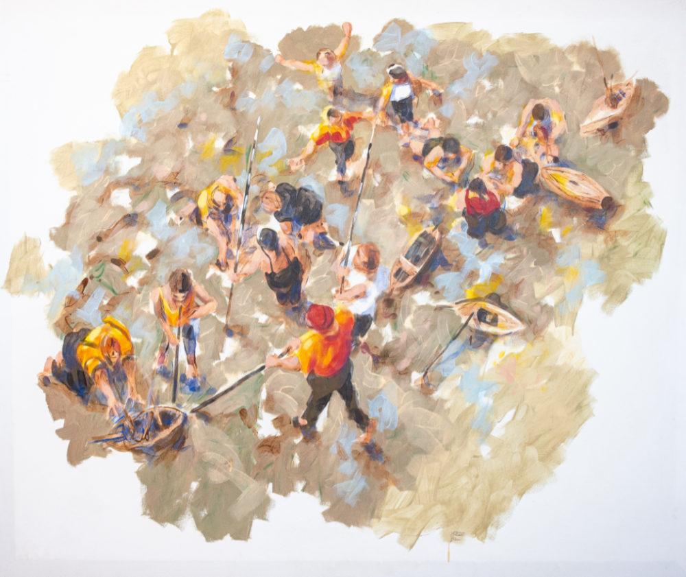 15020 - Kriegsspiele, 2015, Emulsion auf Nessel, 142 x 172 cm