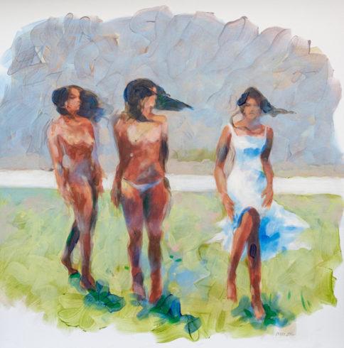 19011, Flussufer, 2019, Emulsion auf Nessel, 100 x 100 cm