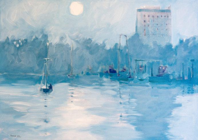 Schiersteiner Hafen - blaue Stunde, 2019, Leinöl auf Nessel, 30 x 50 cm