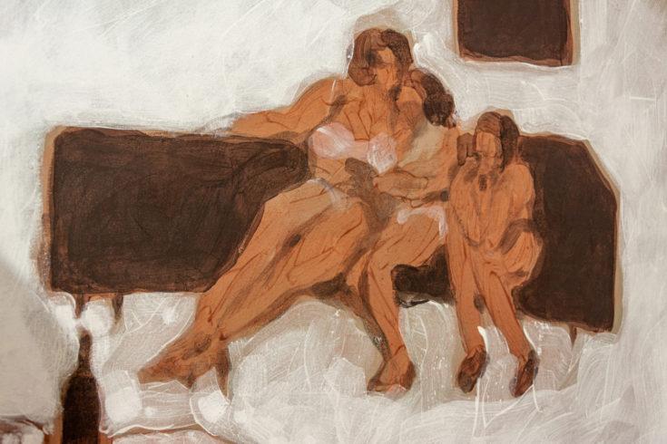 Zu dritt, 2013, Emulsion auf Nessel, 70 x 100 cm