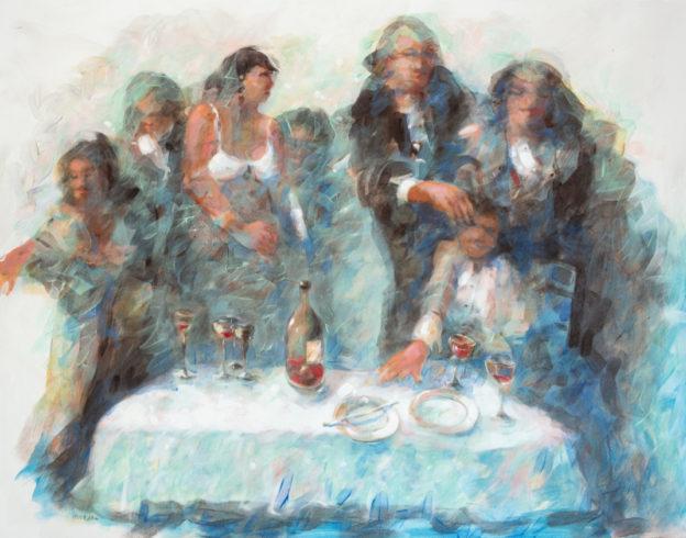 17003, Am Tisch, 2017, Emulsion auf Nessel, 125 x 150 cm