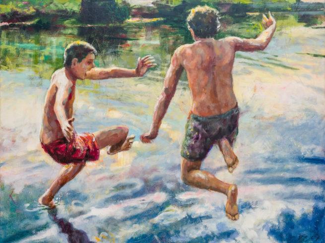 Fluss-Springer, Acrylfarbe auf Leinwand, 120 x 160 cm, 2007