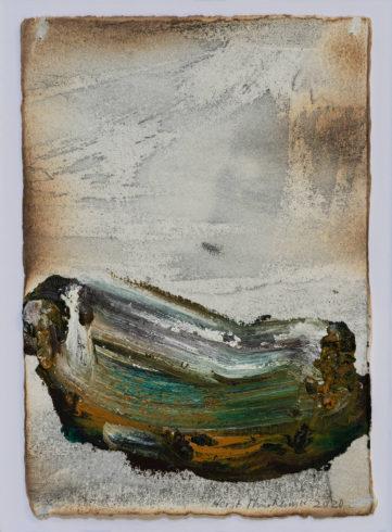 O.T., 2020, Grafit, Oilsticks und Feuer auf Bütten, 21 x 17,5 cm VG Bild-Kunst, Bonn 2020 / Horst Thürheimer, Foto: Thomas Lomberg
