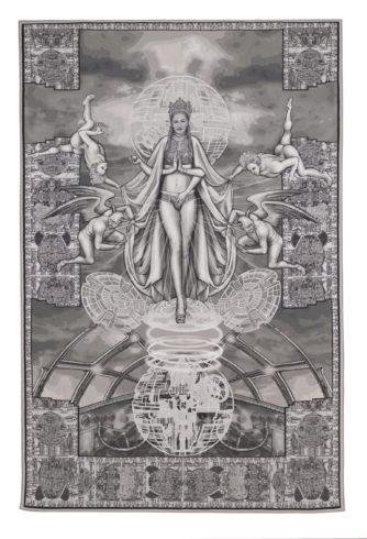 """Margret Eicher: """"Assunta"""", 2020, Digitale Collage/Jacquard-Gewebe, 308 x 207 cm VG Bild-Kunst, Bonn 2020/ Margret Eicher, Foto: Nikolaus Steglich/Museum Villa Stuck, München"""