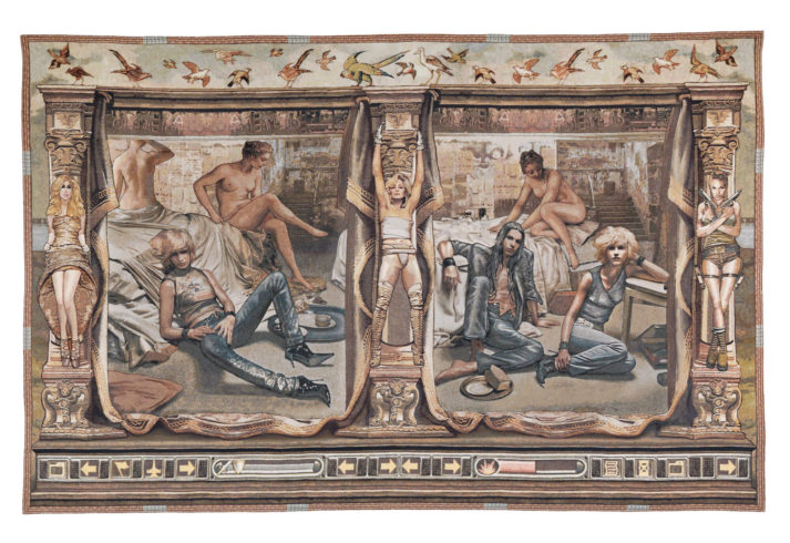 """Margret Eicher: """"Das Urteil des Paris 3"""", 2012, Digitale Collage/Jacquard-Gewebe, 300 x 510 cm VG Bild-Kunst, Bonn 2020/ Margret Eicher, Foto: Nikolaus Steglich/Villa Stuck, München"""