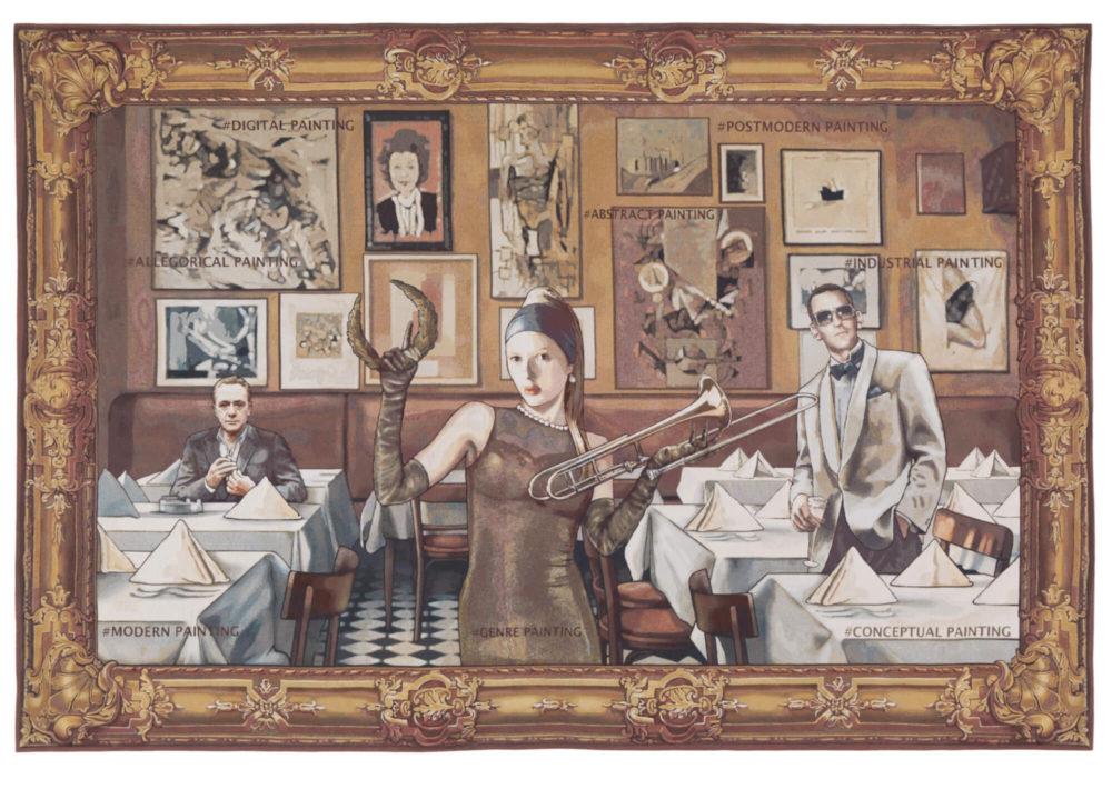 """Margret Eicher: """"Lob der Malkunst 2"""", 2018 Digitale Collage/Jacquard-Gewebe, 290 x 430 cm VG Bild-Kunst, Bonn 2020/ Margret Eicher, Foto: Künstlerin/Museum Villa Stuck, München"""