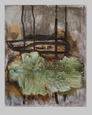 Sonate für Cello Solo, 2020, Grafit, Oilsticks und Feuer auf Bütten, 210 x 170 cm VG Bild-Kunst, Bonn 2020 / Horst Thürheimer, Foto: Thomas Lomberg
