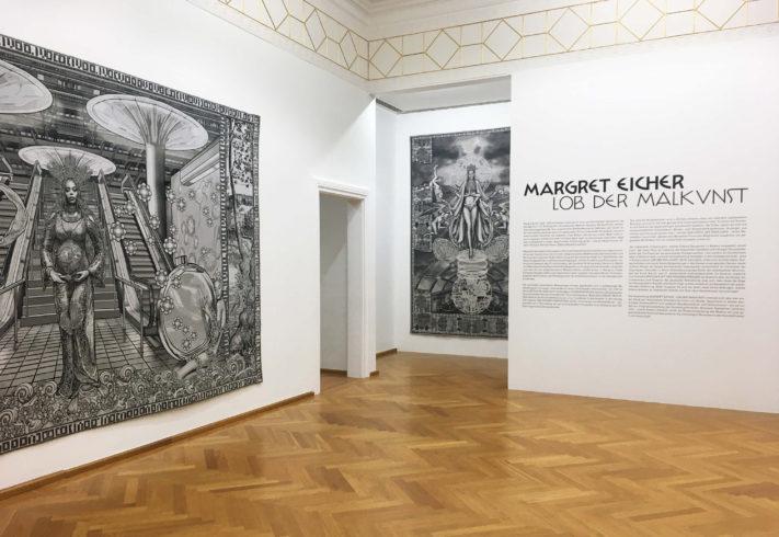 """Blick in die Ausstellung """"Margret Eicher. Lob der Malkunst"""" im Museum Villa Stuck VG Bild-Kunst, Bonn 2020/ Margret Eicher, Foto: Künstlerin/Museum Villa Stuck, München"""