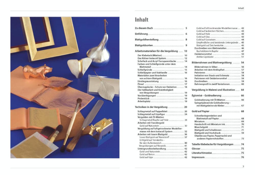 Buchinnenseite Vergolden mit Blattmetallen