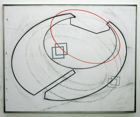 O.T. (Space behind Space), 2004, Zeichenkohle, Ölpastell auf Papier, 100 x 130 cm, O.T. (Hope, Fear & Responsibility), Atelieransicht 1989, © VG Bild-Kunst, Bonn 2020 / Ernst Hesse, Foto: Ernst Hesse