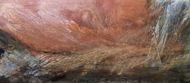 Wael | Sand und Felsstaub des Wadi Rum, Farbpigmente, Bindemittel | 80 x 180 cm | 2010