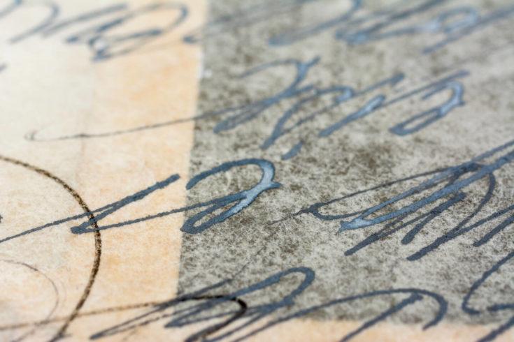 """Detail aus einer kalligrafischen Arbeit zu Hilde Domins Vers """"Dem Wunder leise wie einem Vogel die Hand hinhalten."""""""