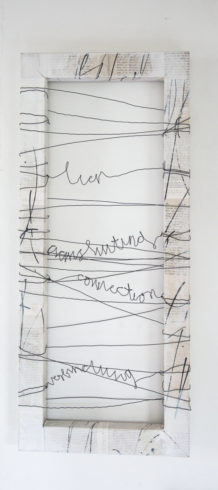 """""""Verbindung"""" 30 x 60 cm, collagierter Holzrahmen mit Gesso, Drahtbespannung, 2014"""
