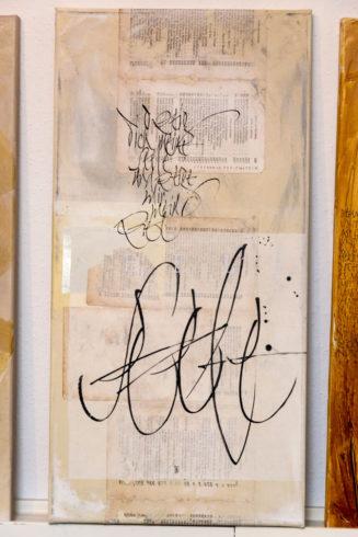 """""""Oh zeig' dich meine Seele und zeige mir mein Ziel"""", Acrylfarben auf Leinwand, Collagenmischtechnik, 30 x 60 cm, 2015, Text von Stephanie Freienstein"""