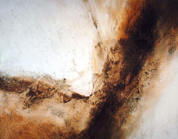 Sahara Zagora | Sand und Steinchen der Sahara (Marokko), Farbpigmente, Binder | 110 x 140 cm | 2006