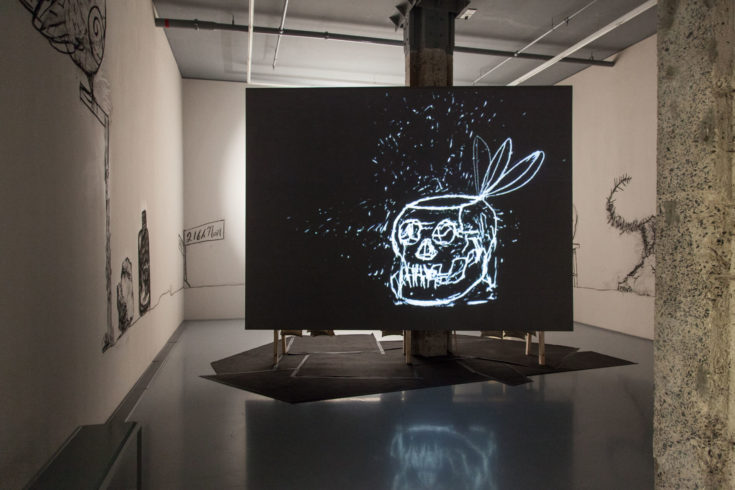 William Kentridge: Installation view, UBU Tells The Truth, 1997 at Zeitz MOCAA. Why Should I Hesitate: Putting Drawings to Work © Artwork: Courtesy of the Artist and Goodman Gallery. Image courtesy of Zeitz MOCAA. Photo: © Anel Wessels