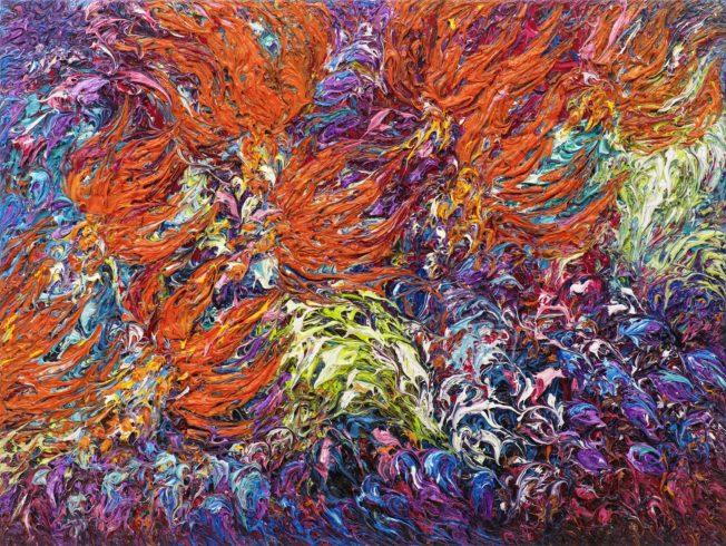 Feuerlilien, 2014, Öl auf Leinwand, 90 x 120 cm © VG Bild-Kunst, Bonn 2021/ Ansgar Skiba, Foto: VG Bild-Kunst, Bonn 2021/ Olaf Bergmann