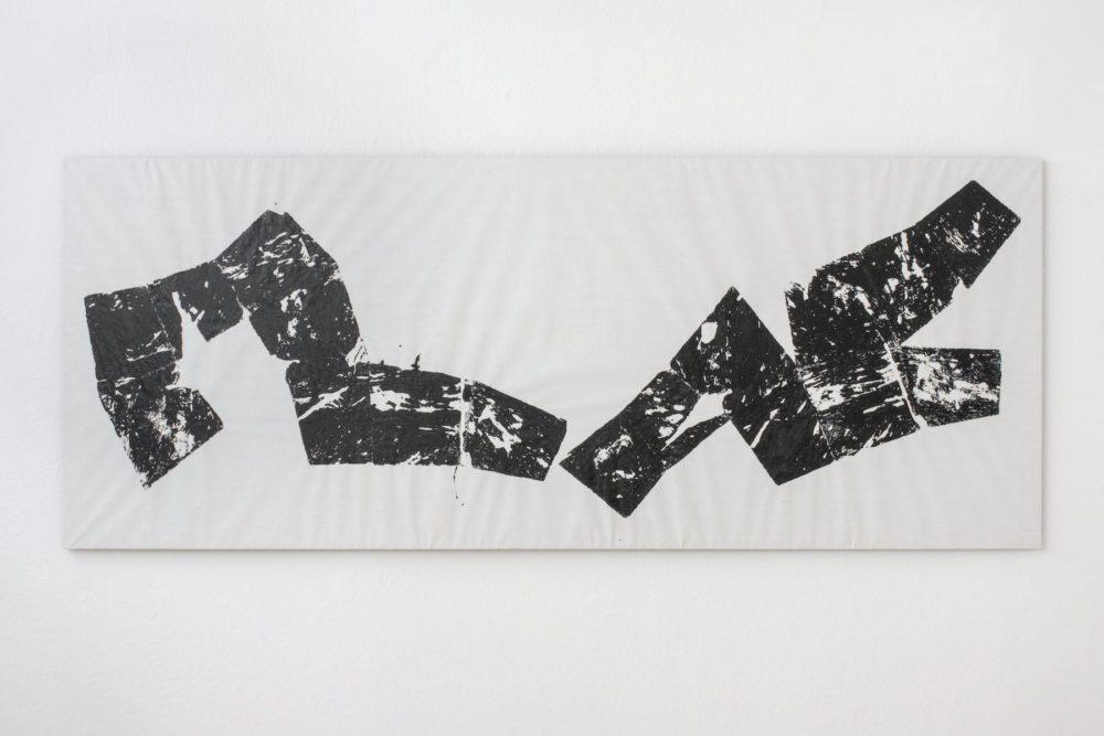 Unfolding1, 2008, paint on paper, 107 x 270 cm, Foto: Peter Wackernagel