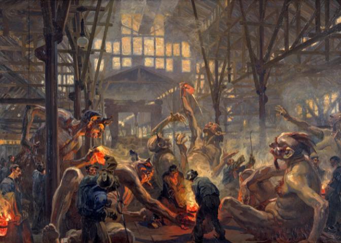 Heinrich Kley: Die Krupp'schen Teufel, um 1912/13, LWL-Industriemuseum – Westfälisches Landesmuseum für Industriekultur, Foto: LWL-Industriemuseum