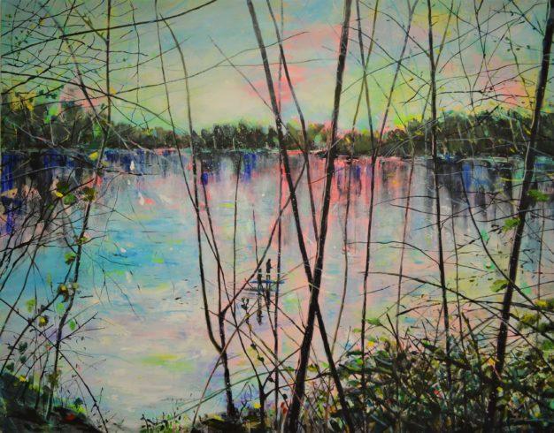 Am Rhein XXI, 2020, Acryl auf Leinwand, 120 x 150 cm © VG Bild-Kunst, Bonn 2021/ Tanja Vetter, Foto: Tanja Vetter