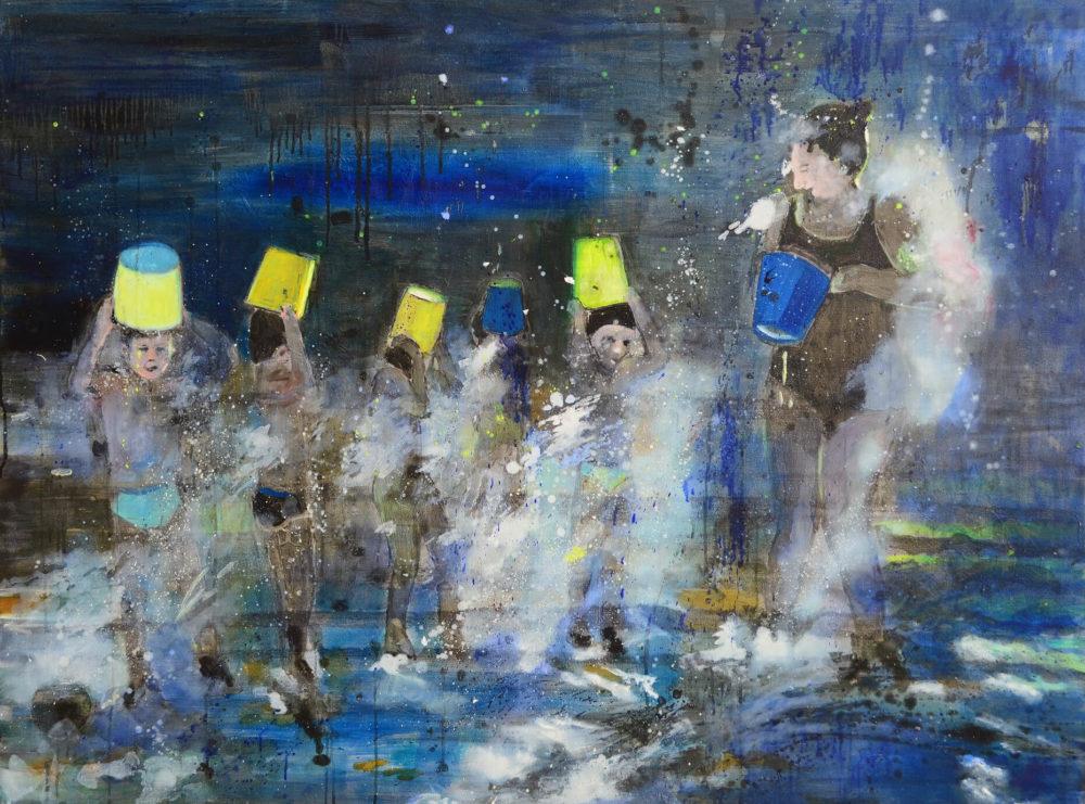 Water Fun II, 2013, Öl auf Leinwand, 90 x 120 cm, Privatsammlung  VG Bild-Kunst, Bonn 2021/ Tanja Vetter, Foto: Alexander Horn