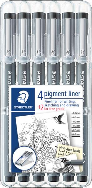 Staedtler Pigment Liner-Set | 6 Stifte, schwarz