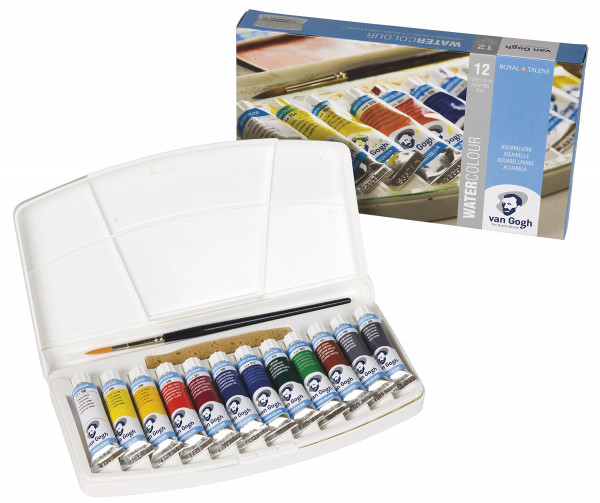Standard-Farbtöne | Talens Van Gogh Aquarell Kunststoffkasten 12x 10 ml