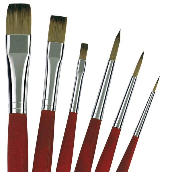 Da Vinci College-Öl-/Acrymlmalpinsel-Set | 6 Pinsel