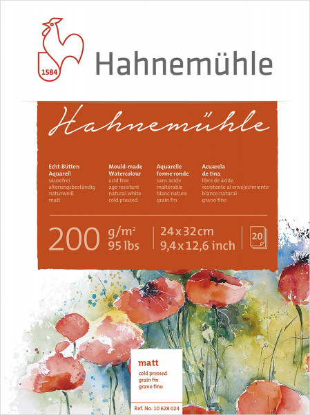 Hahnemühle Echtbütten-Aquarellblock | 200 g/m², matt + rau