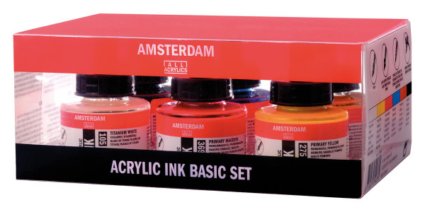 Talens Amsterdam Acrylic Ink Grundfarben-Set | 6x 30 ml