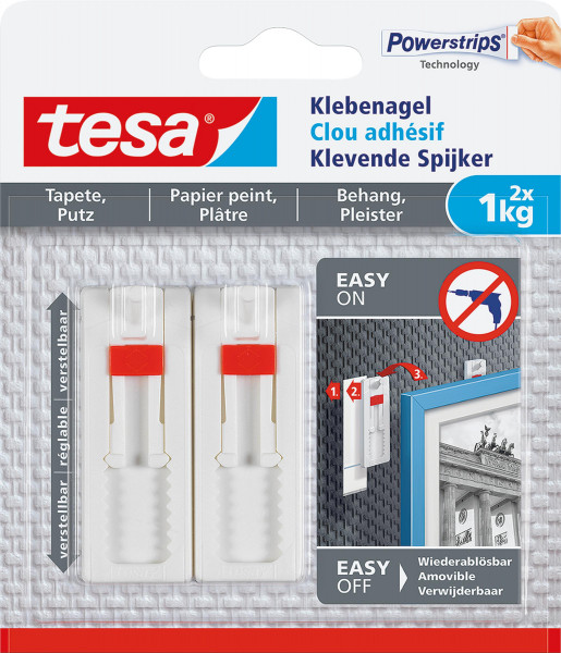 Tesa Verstellbarer Klebenagel für Tapeten und Putz