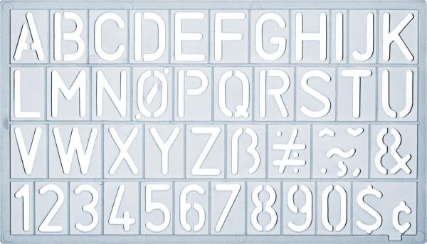 Ars Nova Schrift/Zahlenschablone Standard inkl. Sonderzeichen (ANSSTM)