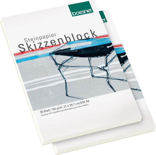MONAT_2021-02_Feb: boesner Steinpapier-Skizzenblock | 2x DIN A4