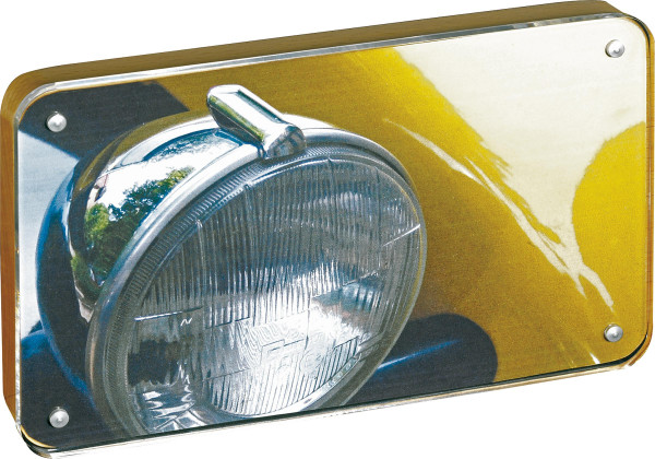 Acrylblock mit Magnet und Buchenholzrückwand