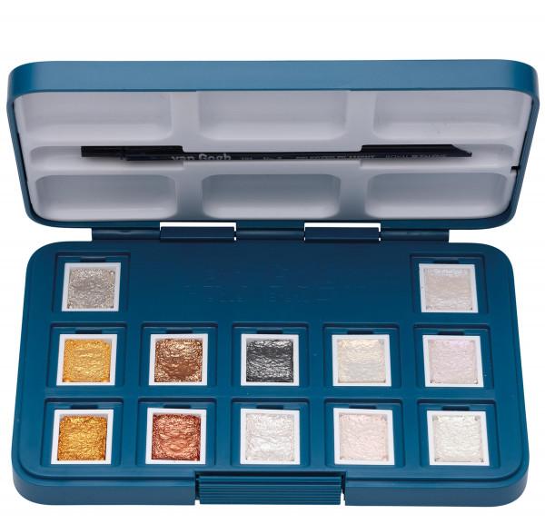Royal Talens – Van Gogh Pocket Box mit 12 ½ Näpfchen Metallic-/Interferenzfarbtöne
