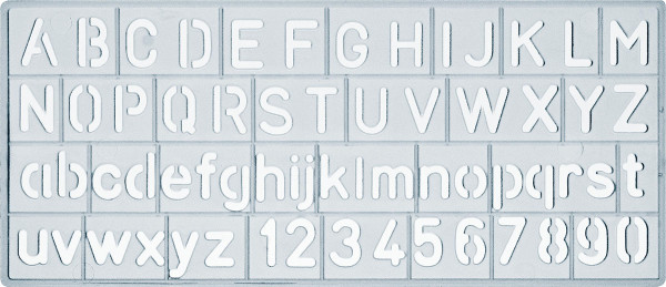 Ars Nova Schrift-/Zahlenschablone, Standard (ANSSTK)