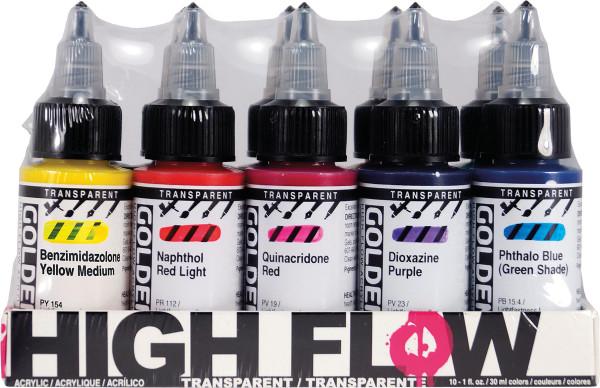 Golden High Flow Acrylfarben-Set, Transparent Colors